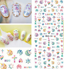 100 Unicorn Love Heart Decals Water Nail Art Sticker for Nail Polish Manicure