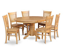 5PC OVAL DINETTE KITCHEN DINING ROOM SET TABLE w/ 4 WOOD SEAT CHAIRS LIGHT OAK