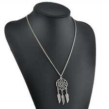 Cute Women Girl Vintage Retro Feather Pendant Jewelry Long Sweater Chain Necklac