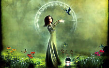 Framed Print - Fairy with Animals in a Enchanted Forest(Picture Poster Art Magic