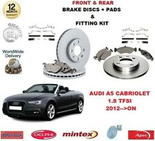 FOR AUDI A5 CAB 1.8 TFSI 2012-- ON FRONT + REAR BRAKE DISCS & PADS + FITTING KIT