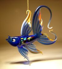 Blown Glass Figurine Art Hanging Blue and Peach FISH with Arched Tail Ornament