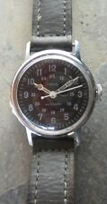 L@@K! 1968 Vintage Timex 24hr Military Black Dial Wristwatch Leather Strap Watch
