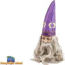 FAIRYTALE PURPLE WIZARD HAT & BEARD Mens Fancy Dress Costume Accessory