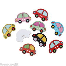 100PCs Wooden Buttons Cartoon Car Shape Mix Color 2-hole Sewing Scrapbook DIY