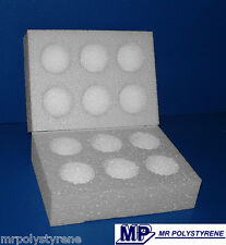 20 POLYSTYRENE EGG BOXES HATCHING / INCUBATION LARGE 100MM PACK / 50MM EACH HALF