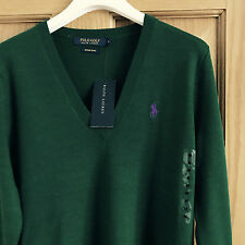 BNWT Ralph Lauren Polo Ladies Merino Wool V Neck Jumper Size S RRP £125