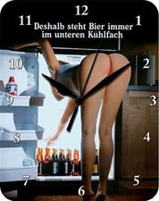Deshalb steht Bier immer im unteren Kühlfach - Blechuhr Wanduhr Uhr Clock 87