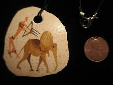 Ostrich Shell ? Necklace Elephant Primitive Archer with Bow & Arrow Painted Art