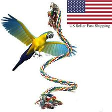 Pet Parrot Chew Rope Budgie Bell Bird Perch Coil Swing Cockatiel Cage Toy 1M