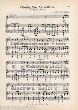 "OBERLIN COLLEGE Original Vntg Alma Mater Song Sheet c1941 ""Ten Thousand Strong"""