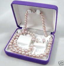 Lovely knotted pink southsea shell pearl 8mm necklace bracelet earrings set