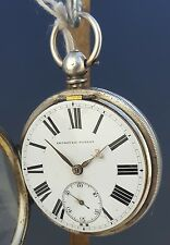 ANTIQUE 1871 J SYKES SOLID SILVER POCKET WATCH - WORKING - WITH KEY