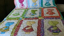 Handcrafted Applique Sunbonnet Sue Dutch Girl Baby Crib Throw Quilt Multi Colors