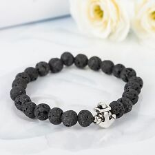Fashion Men's Black Lava Stone Beaded Charm Anchor Bracelet Elastic Bracelets