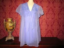 Vtg Nylon Babydoll Nightgown Set Spandex Baby Doll Gown Peignoir Robe Lingerie M