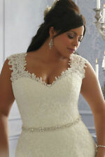 2017 Plus Size White/Ivory Wedding Dress Lace Bridal Gown 14/16/18/20/22/24/26