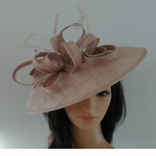 FAILSWORTH NUDE WEDDING ASCOT HAT DISC FASCINATOR SAUCER MOTHER OF THE BRIDE