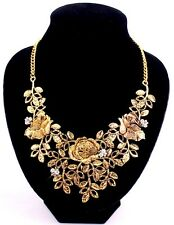 Charm Crystal Silver Peony Flower Leaf Statement Bib Collar Chunky Necklace Gift