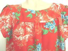 Vintage Made in Hawaii Muu Muu Sz 18 Polyester Red Muumuu Petal Sleeve