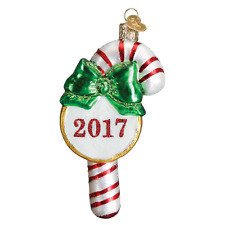 """""""2017 Candy Cane"""" (36217) Old World Christmas Glass Ornament w/OWC Box"""