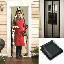 Magic Curtain Door Mesh Magnetic Hands Free Fly Mosquito Bug Insect Screen Black