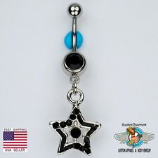 Star Dangle Belly Ring Bar Black Navel Ring Belly Button Jewelry 14G (C19)