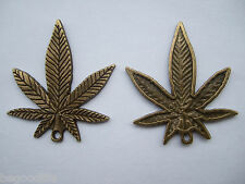 20 Antique Bronze Plated Alloy Pendants Charms - 33.5x39.4mm Marijuana Weed Leaf