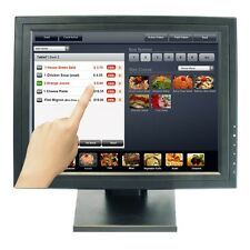 "15"" inch TFT VGA Touch Screen LCD Monitor POS Stand Restaurant Pub Kiosk Retail"