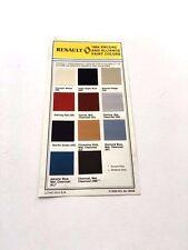 1984 Renault Alliance Encore Exterior Paint Color Chip Original Brochure Card