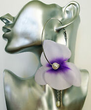 Huge Fab Lilac Flower Hoop Dangle Drop Earrings with Faux Pearl and Chain 7 cms