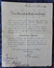 Gratulation-Brief von Kaiser Wilhelm II zur Goldenen Hochzeit - 1909 -