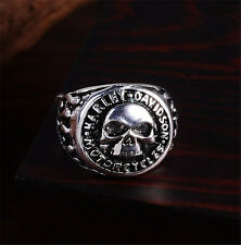 fashion men stainless steel fashion Cool skull biker big rings US size10