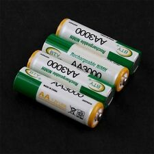 ☆ LOT 4 PILES NI-MH  rechargeables BATTERIES ACCU LR06  AA 3000 mAh  Neuves  ☆