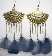 F1293 vogue grey Feather charm sector chain cute dangle chandelier earrings