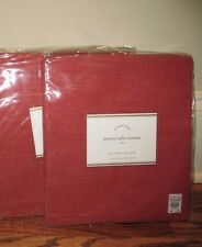 (2) NIP Pottery Barn Emery cafe curtains 50x36 red linen cotton *qty available