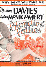 """BLONDIE OF THE FOLLIES Sheet Music """"Why Don't You Take Me"""" Marion Davies"""