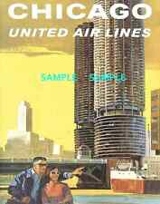 """United -  Air Lines - Travel 11"""" X 17"""" Poster - [ -Chicago-  ]  -"""