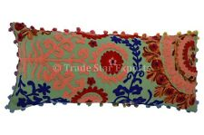 Indian Embroidered Pillow Cover Suzani Boho Throw Cushions Pom Pom Pillow Cover