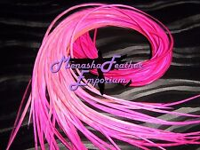 "feather hair extensions 5 Tie dye Hot Pink Ombre Super long 12 - 14"" microbeads"
