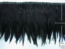 Hackle feather fringe of black color 1 metre ribbon trim