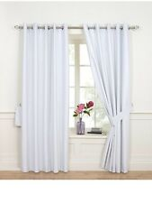 90x90 Faux Silk Eyelet Blackout Curtains Silvery White