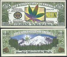 COLORADO RECREATIONAL MARIJUANA MILLION DOLLAR NOVELTY BILL - Lot of 10 Bills