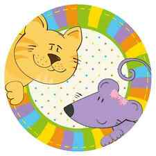 """PLAYING CAT & MOUSE"" PAPER PLATES - Kids BIRTHDAY PARTY Cake COLOURFUL Ø18cm /D"