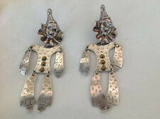VTG 925 Mexican Sterling Clown Earrings Marked Taxco 5.5 Inch Long Estate