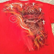 MMA Elite Domination Graphic T Shirt Tee Red Orange White 2XL Skull With Crown