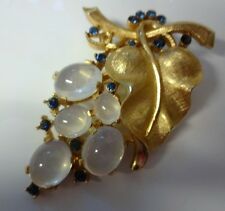 Crown Trifari Alfred Philippe Moonglow Jelly Belly Rhinestone Grape Pin Brooch