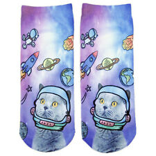 1Pair Women Fashion 3D Cute Space Cats Printed Casual Socks Low Cut Ankle Socks