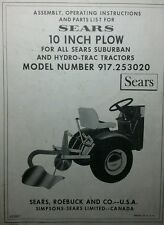 """Sears 10"""" PLOW Implement Garden Tractor Owner & Parts Manual 8pg 917.253020 Farm"""