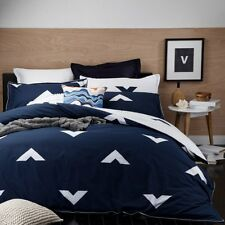 Logan and Mason VESPA INK Blue King Size Bed Doona Duvet Quilt Cover Set NEW